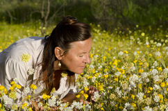 Woman in Field of Wildflowers Royalty Free Stock Photo
