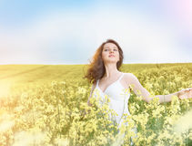 Woman in field with yellow flowers at summer sunset. Stock Images