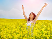 Woman in field with yellow flowers at summer sunset. Stock Photos