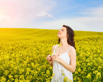 Woman in field with yellow flowers at summer sunset. Stock Photo