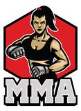 Woman fighter of martial arts. Vector of woman fighter of martial arts Stock Images