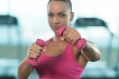 Woman Fighter Ready To Fight With Dumbbels Royalty Free Stock Photo