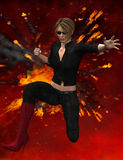 Woman in fighting pose. A woman in fighting pose on a firy background rendered in 3D Stock Photo