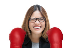 Woman fighting with red boxing gloves Royalty Free Stock Photo