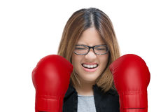 Woman fighting with red boxing gloves Stock Photography
