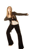Woman in fighting stance Royalty Free Stock Photography