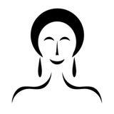 Woman figure with black hair - fashion beauty concept. Woman figure with black hair isolated on white background - fashion beauty concept Stock Images