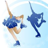 Woman figure skating on blue background. Wirh snowflakes and sillhouette Stock Images