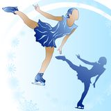 Woman figure skating on blue background_2. Woman figure skating on blue background with snowflakes and sillhuette Royalty Free Stock Photo