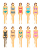 Woman figures in fashionable lingerie flat icons Royalty Free Stock Image