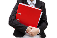 Woman and file binder Royalty Free Stock Image