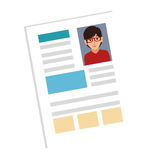 Woman file info with curriculum vitae sheet. Vector illustration Royalty Free Stock Photos