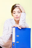 Woman with files Royalty Free Stock Image