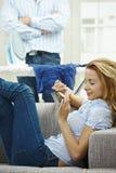 Woman filing nails Stock Photo