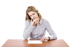 Woman filling the form. Isolated on white background with copy space Stock Photo