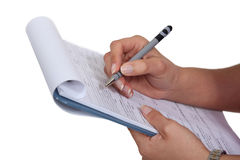 Woman filling a form Stock Photo
