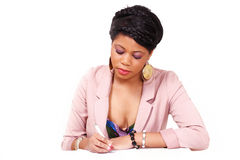 Woman filling form or application royalty free stock images