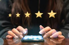 Customer submitting satisfaction feedback questionnaire from recent business experience with five gold star rating