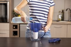 Free Woman Filling Up A Filtered Water Pitcher Stock Photography - 125253322