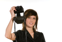 Woman with film camera Royalty Free Stock Photography