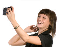 Woman with film camera Stock Images