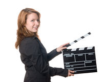 Woman with film slate Stock Photography