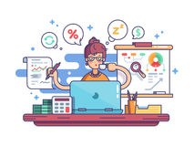 Woman financial accountant. Woman accountant doing financial reports at workplace. Vector illustration Stock Image