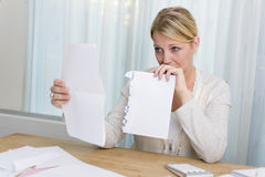 Woman with financial problems royalty free stock photos