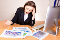 Woman with a financial reports Stock Photography