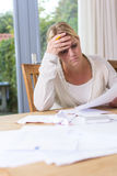 Woman in financial stress royalty free stock images