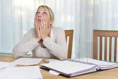 Woman in financial stress Royalty Free Stock Image
