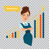 Woman financier standing near profit growth chart.. Woman financier standing near profit growth chart. Beautiful businesswoman working character. Woman showing Royalty Free Stock Images