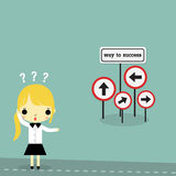 Woman find the way to success. Businesswoman stand on the road with way to success sign board on bule background Royalty Free Stock Image
