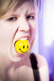 Woman Finding Happiness Hard To Swallow royalty free stock images