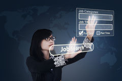 Woman finding jobs online Royalty Free Stock Images