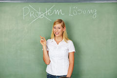 Woman finding solution for problem Stock Photography