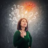 Woman finding solution stock illustration