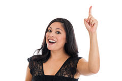 Woman with finger in the air Royalty Free Stock Photography