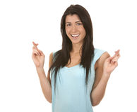 Woman finger crossed Royalty Free Stock Image