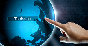 A woman finger and globe, Tokyo Stock Images