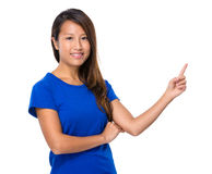 Woman with finger point out Stock Photo