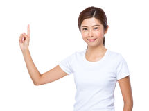 Woman with finger point up Stock Photography