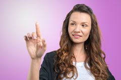Woman with finger point up Royalty Free Stock Photo
