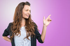 Woman with finger point up Royalty Free Stock Image