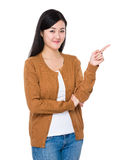 Woman with finger point up Royalty Free Stock Photos