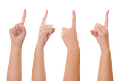 Woman finger pointing. Image of a woman finger pointing from four different angle of shot Royalty Free Stock Images
