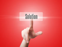 Woman finger push solution button Royalty Free Stock Images