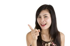 Woman with finger raised Stock Photo
