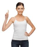Woman with finger up Stock Image