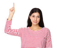 Woman with finger up Royalty Free Stock Photography
